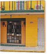 Yellow Buidling Mexico Wood Print