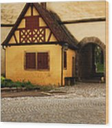 Yellow Building And Wall In Rothenburg Germany Wood Print