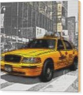 Yellow Cab At The Times Square -comic Wood Print