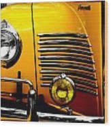 Yellow Cab Frontal Wood Print