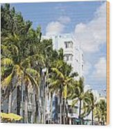 Yellow Cabs On Ocean Drive Wood Print