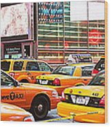 Yellow Cabs Wood Print