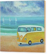 Yellow Camper Wood Print