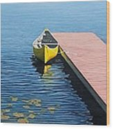 Yellow Canoe Wood Print by Kenneth M  Kirsch