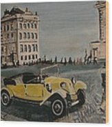 Yellow Car In Prague Wood Print