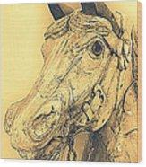 Yellow Carousel Horse Wood Print