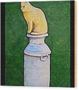 Yellow Cat On Milk Can Wood Print
