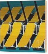 Yellow Chairs Reflected Wood Print by Amy Cicconi
