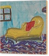 Yellow Chaise-red Pillow Wood Print