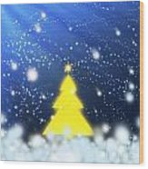 Yellow Christmas Tree Wood Print
