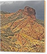 Yellow Colored Rock Along The Apache Trail Wood Print