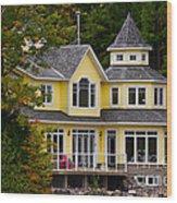 Yellow Cottage Wood Print