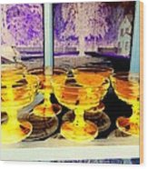 Yellow Cups Wood Print