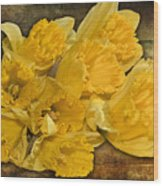 Yellow Daffodils And Texture Wood Print