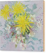 Yellow Dahlias And Peruvian Lilies Wood Print
