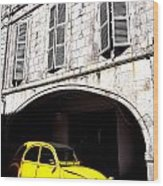 Yellow Deux Chevaux In Shadow Wood Print