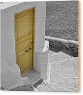 Yellow Door Of Oia Wood Print