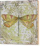Yellow Dragonfly On Vintage Tin Wood Print