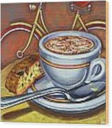 Yellow Dutch Bicycle With Cappuccino And Biscotti Wood Print