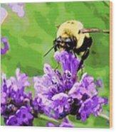 Yellow Enjoying Lavender Wood Print