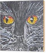 Yellow Eyed Black Cat Wood Print