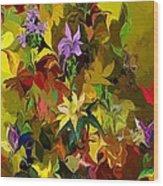 Yellow Fantasy Flower Garden Wood Print