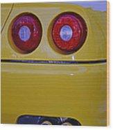 Yellow Ferrari Tail Lights Wood Print