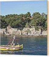 Yellow Fishing Boat - Cote D'azur Wood Print