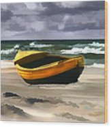 Yellow Fishing Dory Before The Storm Wood Print