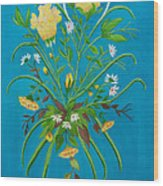 Yellow Floral Enchantment In Turquoise Wood Print