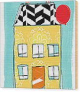 Yellow Flower House Wood Print by Linda Woods