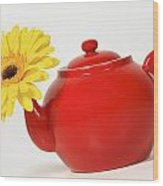 Yellow Flower In A Red Teapot Wood Print