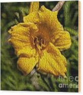Yellow Flower In Oil Wood Print