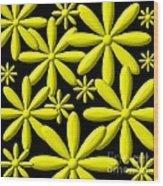 Yellow Flower Power 3d Digital Art Wood Print