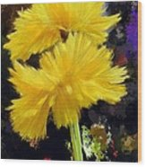 Yellow Flower With Splatter Background Wood Print