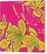 Yellow Flowers On Pink Background Wood Print