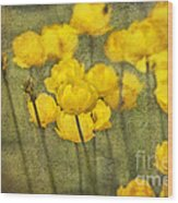 Yellow Flowers With Texture Wood Print