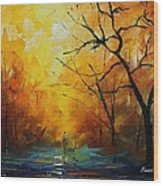 Yellow Fog 2 - Palette Knife Oil Painting On Canvas By Leonid Afremov Wood Print