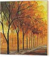Yellow Fog - Palette Knife Oil Painting On Canvas By Leonid Afremov Wood Print
