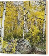 Yellow Forest Wood Print