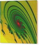 Yellow Fractal Wood Print