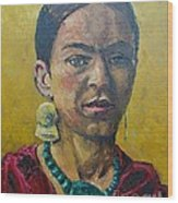 Yellow Frida Wood Print