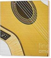 Yellow Guitar Wood Print