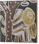 Yellow Head Brown Owl Bird On The Tree Wood Print