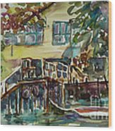 Yellow House By The River Wood Print