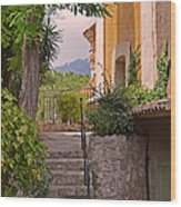 Yellow House In Eze France Wood Print