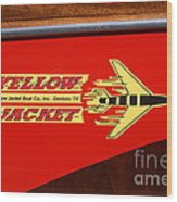 Yellow Jacket Outboard Boat Wood Print