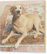 Yellow Lab On A Rug Watercolor Portrait Wood Print