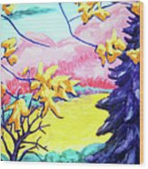 Yellow Leaves On Pink Hills Wood Print
