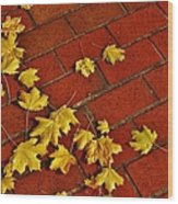 Yellow Leaves On Red Brick Wood Print